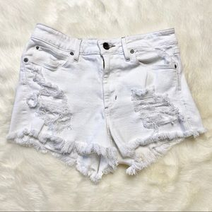 Guess White Cutoff Distressed Shorts